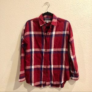 Old Navy Maroon Boyfriend Plaid Button Up